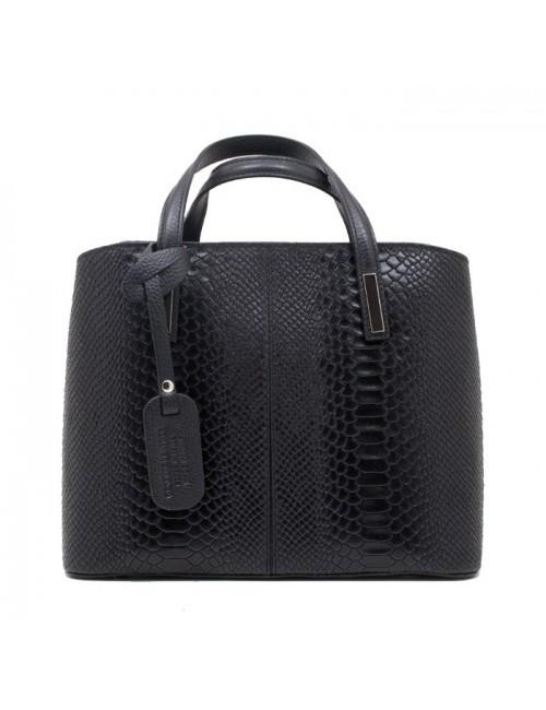 Γυναικεία δερμάτινη ιταλική  τσάντα BUYBRAND Β7620 μαύρη