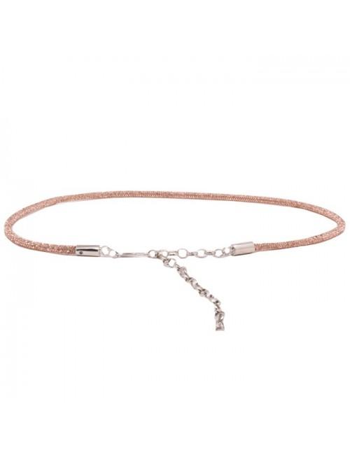 Γυναικεία ζώνη με αλυσίδα στρας B7127 Ροζ-χρυσό