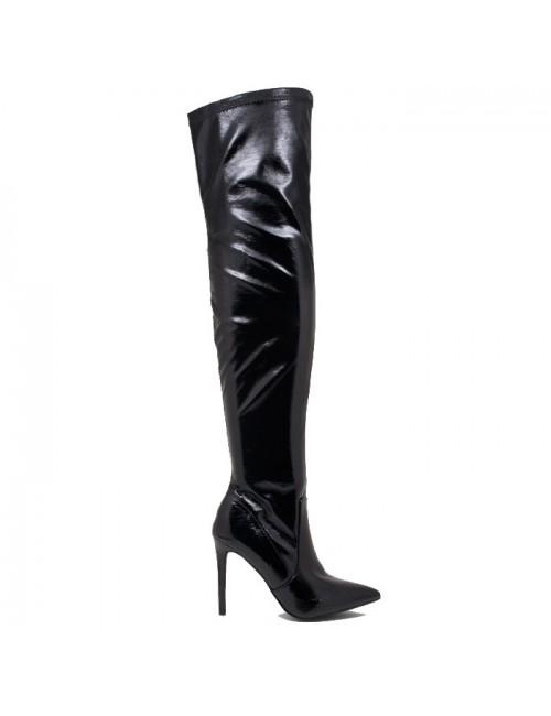 Γυναικεία μπότα πάνω από το γόνατο BUYBRAND KA98398 Δερμάτινη Μαύρη Λουστρίνι
