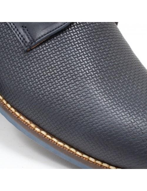 Ανδρικό δερμάτινο  παπούτσι BUYBRAND B077 Μπλε