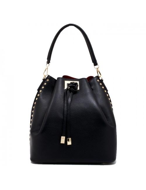 Γυναικεία τσάντα-πουγκί δερμάτινη Ιταλική IT01 Μαύρη