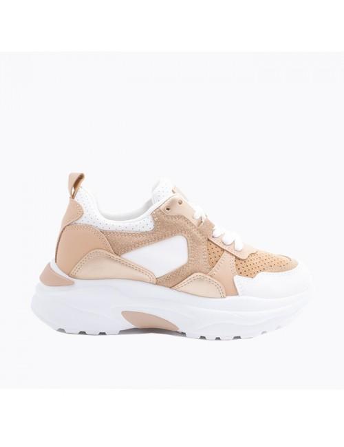 Γυναικεία sneakers BUYBRAND με χοντρη σόλα B-606 δίχρωμα λέυκο camel
