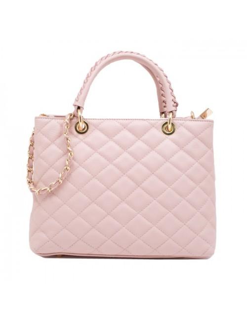 Γυναικεία τσάντα τύπου Σανέλ καπιτονέ δερμάτινη Ροζ 40-L
