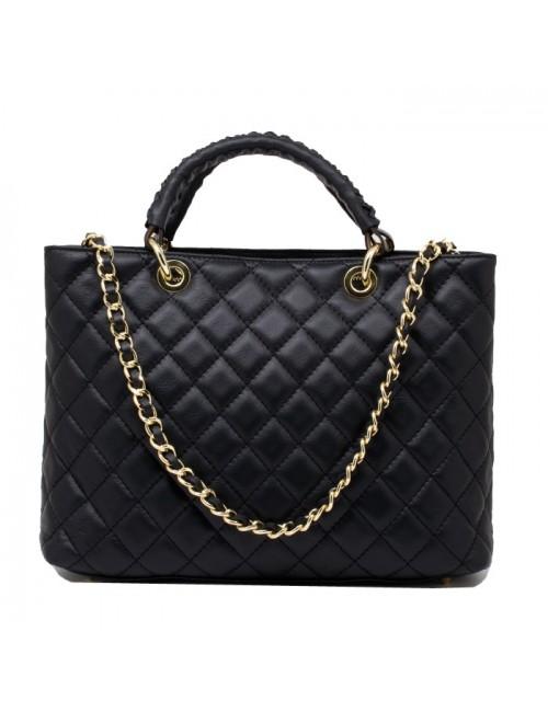 Γυναικεία τσάντα τύπου Σανέλ καπιτονέ δερμάτινη τσάντα ΜΑΥΡΗ 40-L