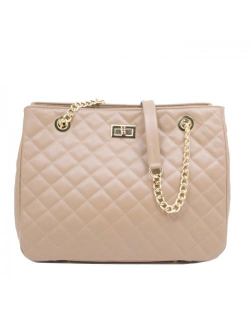 Γυναικεία τσάντα τύπου Σανέλ καπιτονέ δερμάτινη Μπεζ 40-L