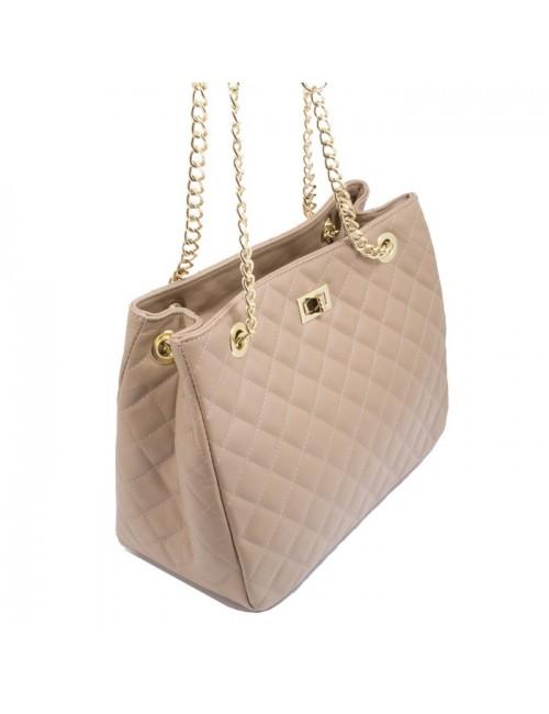 Γυναικεία τσάντα τύπου Σανέλ καπιτονέ γνησιο δερμα  Μπεζ 40-L