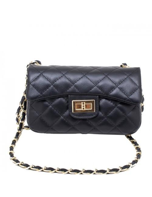 Γυναικεία τσάντα δερμάτινη καπιτονέ τύπου Σανέλ  μικρή 23-S Μαύρο