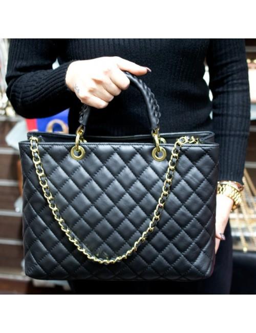 Γυναικεία τσάντα τύπου Σανέλ καπιτονέ δερμάτινη ΜΑΥΡΗ 40-L