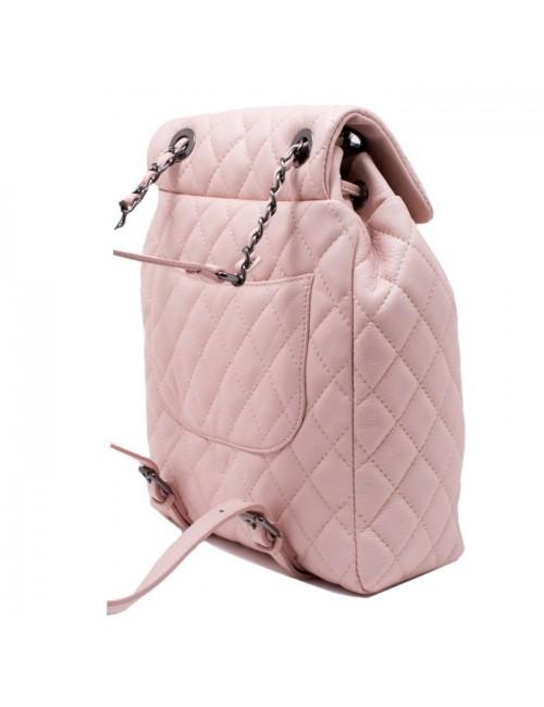 Γυναικείο  καπιτονέ ροζ δερμάτινο σακίδιο τύπου chanel ΡΟΖ 55-SL