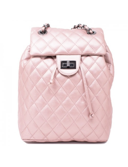 Γυναικείο ροζ δερμάτινο καπιτονέ σακίδιο τύπου chanel ΡΟΖ 55-SL