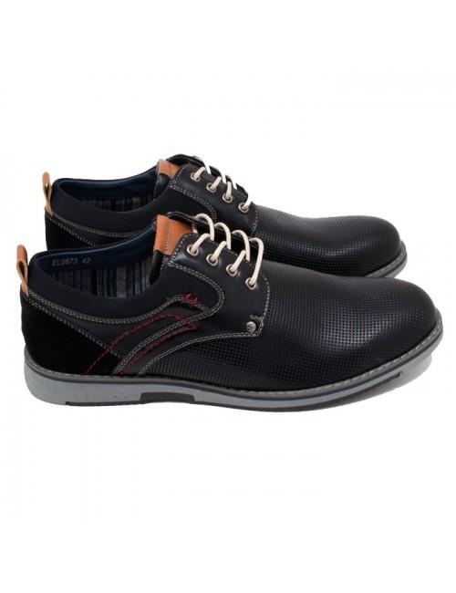 Ανδρικό δετό παπούτσι BUYBRAND BU886 Μαύρο