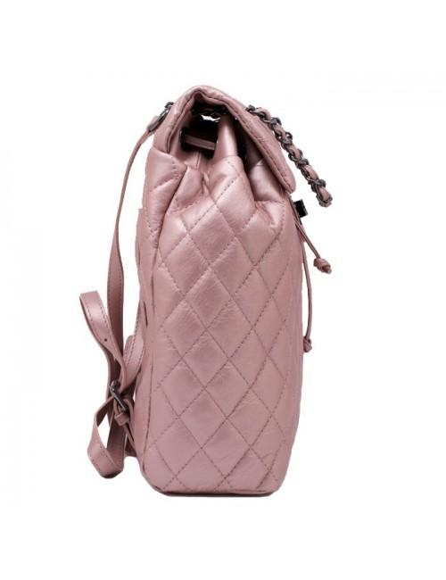 Γυναικείο ροζ δερμάτινο καπιτονέ σακίδιο τύπου chanel ΡΟΖ 54-SL