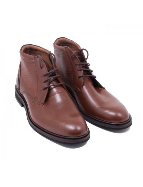 Ανδρικά παπούτσια δετά buybrand δερμάτινα 1026 ταμπά