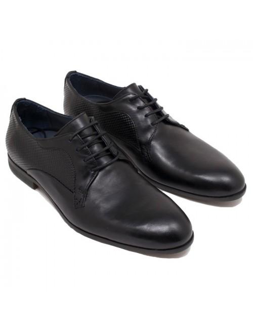 Ανδρικά δερμάτινα παπούτσια Kalt 511-1 Μαύρα