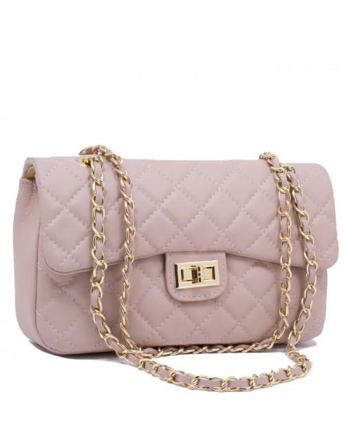 Γυναικεία τσάντα δερμάτινη καπιτονέ τύπου Chanel medium 33-M Nude