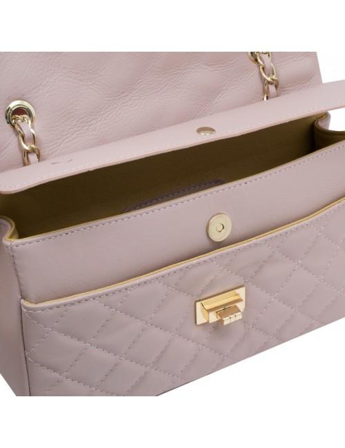 Γυναικεία τσάντα γνησιο δερμα  ιταλιας καπιτονέ τύπου Chanel medium 33-M Nude