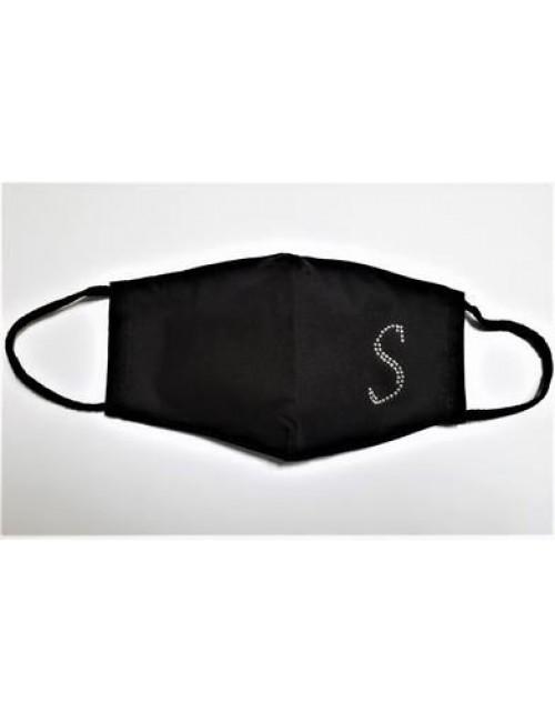 Υφασματινη μασκα προστασιας με το μονογραμμα σχηματισμενο 'S' απο στρας