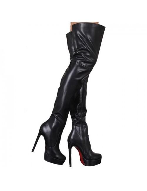 Γυναικεία μπότα πάνω από το γόνατο BUYBRAND LSP55330 Δερμάτινη Μαύρη