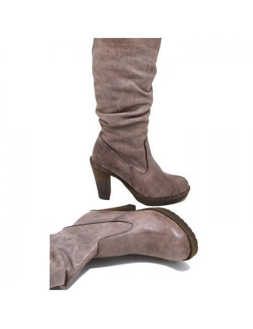 Γυναικεία μπότα CRONOS FACTORY 6215 Δερμάτινη Πούρο