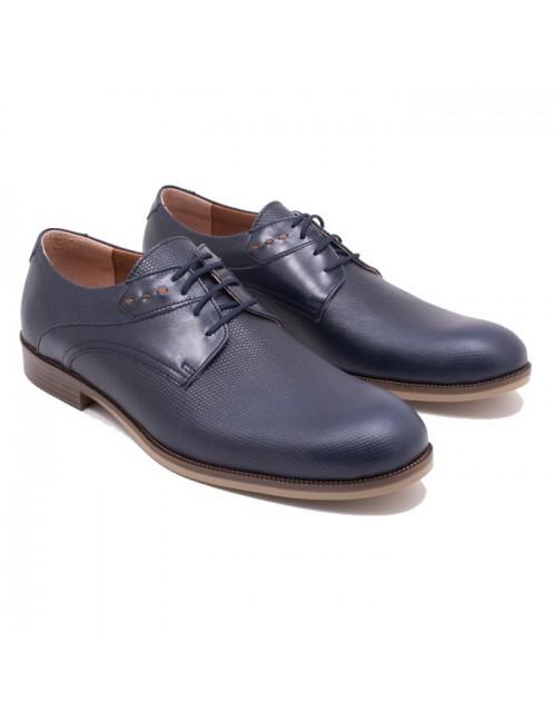 Ανδρικό δερμάτινο δετό παπούτσι Commanchero 91664 Μπλε