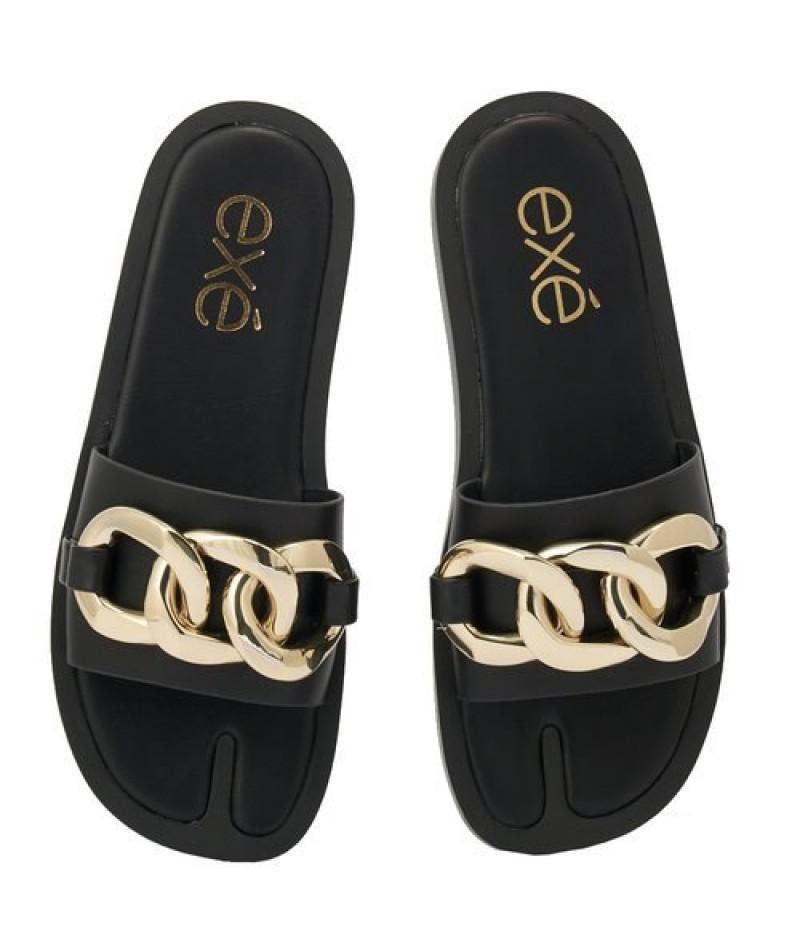 Γυναικείο παπούτσι flat EXE M47002732001 ΜΑΥΡΟ