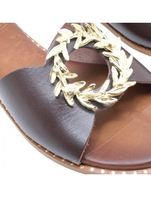 Γυναικείο παπούτσι flat TSAKIRIS MALLAS HERA SANDALS K453D5261340 ΚΑΦΕ