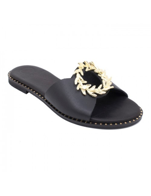 Γυναικείο παπούτσι flat TSAKIRIS MALLAS HERA SANDALS K453D5261340 ΜΑΥΡΟ