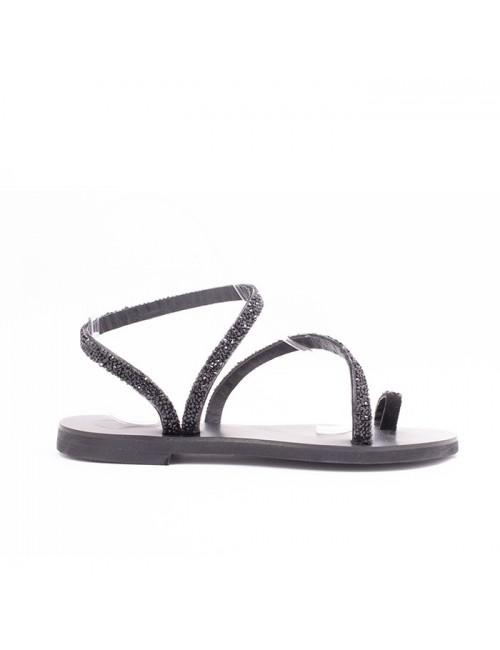 Γυναικείο παπούτσι flat EXE M47008551024 ΜΑΥΡΟ GLITTER
