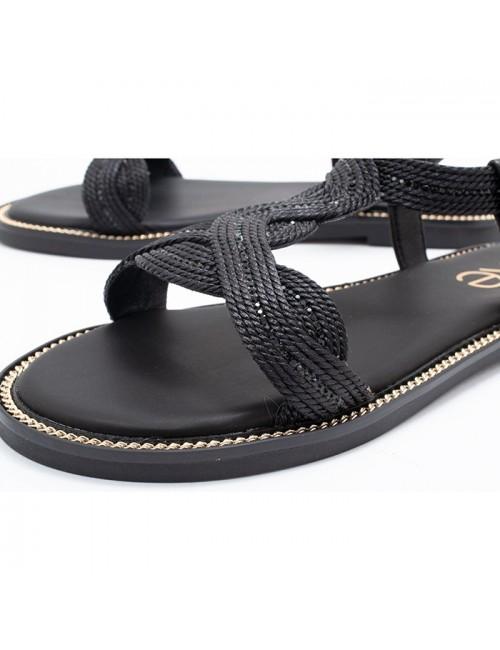 Γυναικείο παπούτσι flat EXE M47001621P51 ΜΑΥΡΟ