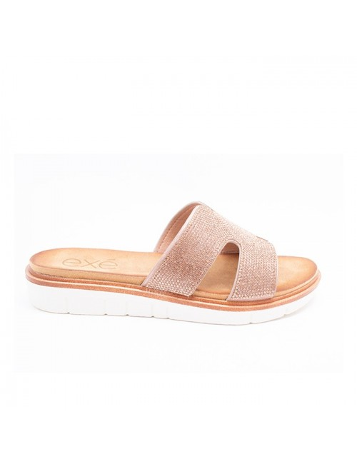 Γυναικείο παπούτσι flat EXE M489Q3612775 ΡΟΖ ΧΡΥΣΟΣ ΣΤΡΑΣ
