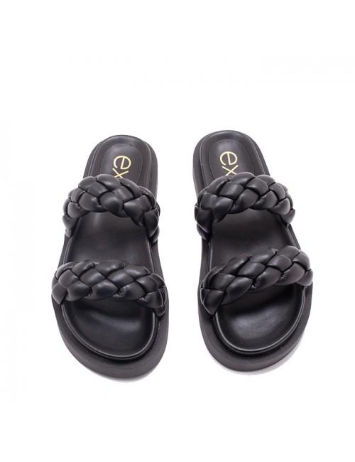 Γυναικείο παπούτσι flat EXE M47000921651 ΜΑΥΡΟ