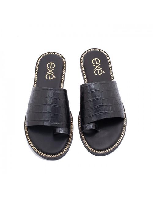 Γυναικείο παπούτσι flat EXEM47001401024 ΜΑΥΡΟ