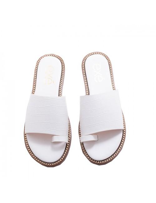 Γυναικείο παπούτσι flat EXEM47001401024 λευκο
