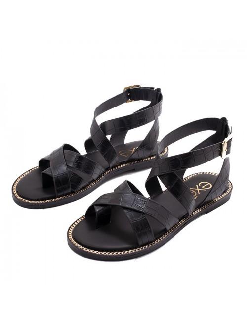 Γυναικείο παπούτσι flat EXE M4700010102405 ΜΑΥΡΟ