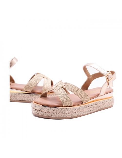 Γυναικείο παπούτσι flat EXE M468Q572319N05 ΡΟΖ ΧΡΥΣΟ