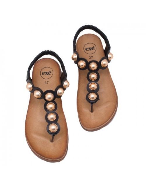 Γυναικείο παπούτσι flat EXE I489Q587200105 ΜΑΥΡΟ