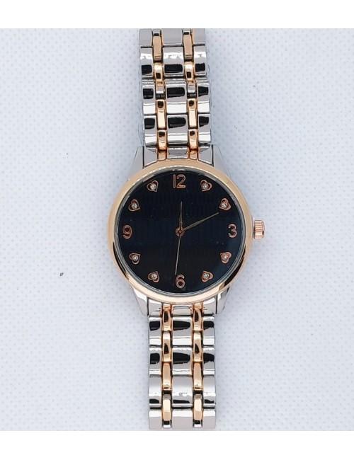 Γυναικείο ρολόι με μεταλλικό μπρασελέ Ρ-11 ασημί-ροζ χρυσό