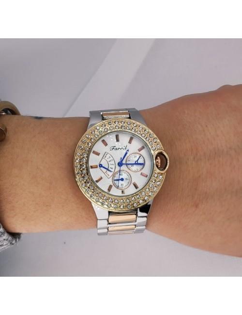 Γυναικείο ρολόι με μεταλλικό μπρασελέ Ρ-14  ασημί-χρυσό