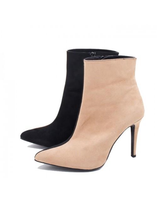 Γυναικεία μποτάκια Katia shoes 96153 Δερμάτινα Ναμπούκ Πούρο Ελληνικά