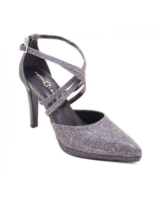 Γυναικεία γόβα Katia shoes 1723 Δερμάτινη Ατσάλι Στραζ Ελληνική