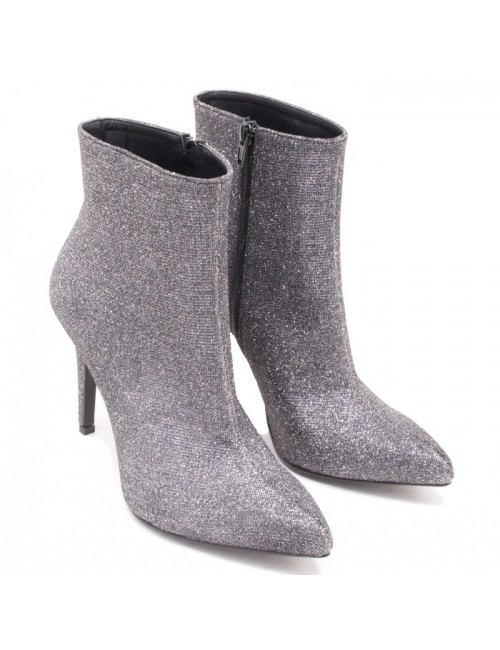 Γυναικείο μποτάκι Katia shoes 153 Δερμάτινο Ατσάλι Στρας Ελληνικό