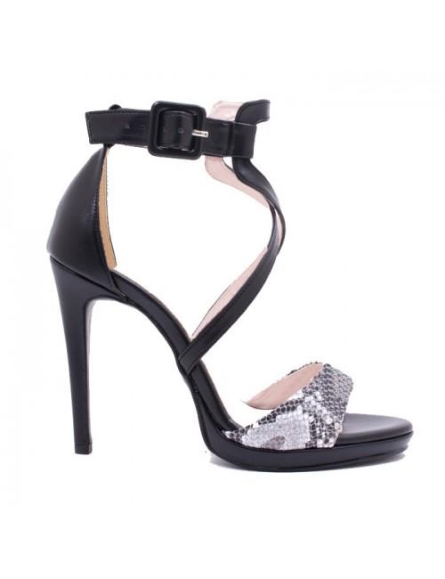 Γυναικείο πέδιλο Katia Shoes 274924 Μαύρο ματ/Φίδι (Ελληνικό)