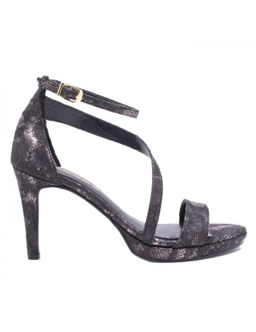 Γυναικείο πέδιλο Katia Shoes Α154967 Μαύρο/Φίδι (Ελληνικό)