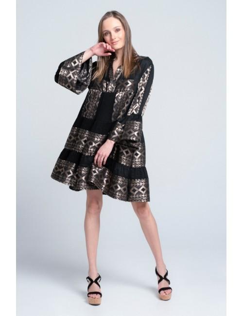 Γυναικείο φόρεμα Lace Μαύρο Χρυσό M-2944