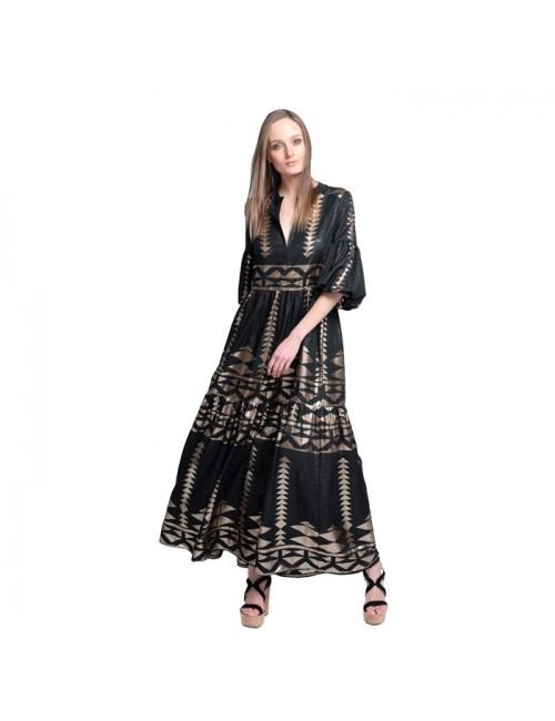 Γυναικείο φόρεμα Lace Μαύρο Χρυσό M-2953