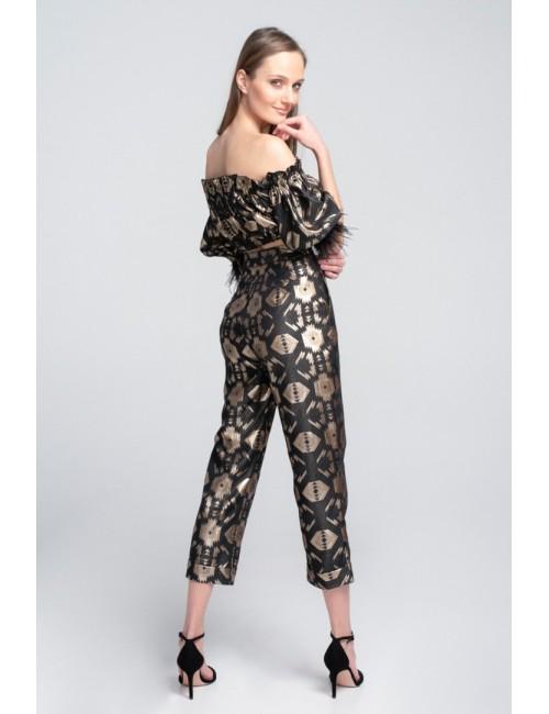 Γυναικείo παντελόνi Lace Μαύρο-Χρυσό M-4226