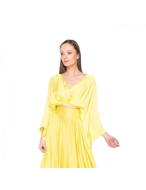 Γυναικείο TOP Lace κίτρινο  M-1491