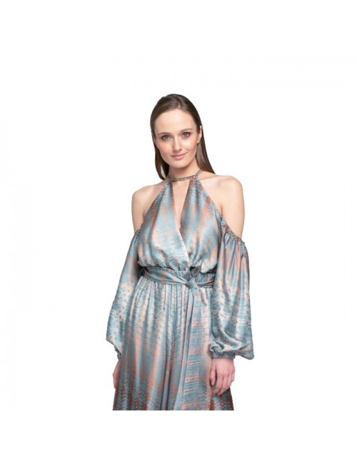 Γυναικείο TOP Lace Πετρόλ Χρυσό M-1482