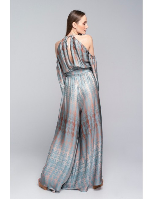 Γυναικεία παντελόνα Lace Πετρόλ-Χρυσό M-4224