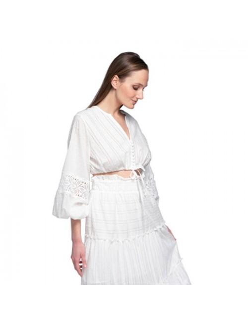 Γυναικείο TOP Lace λευκό M-1483